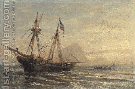 A Russian barque moored at dusk by (after) Aleksei Petrovich Bogoliubov - Reproduction Oil Painting
