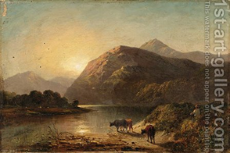 Cows by a highland lake by (after) Alfred De Breanski - Reproduction Oil Painting