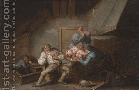 An interior with boors eating and drinking by (after) Anthonie Victorijns - Reproduction Oil Painting