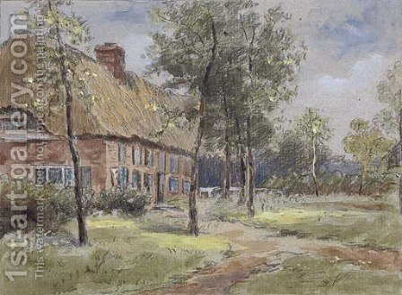 A thatched house in a glade by (after) Anton Mauve - Reproduction Oil Painting