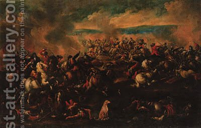 A cavalry engagement by (after) Antonio Calza - Reproduction Oil Painting