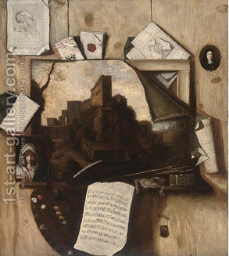 A trompe l'oeil of paintings, a drawing, an artist's palette, letters and a sheet of music by (after)  Antonio Mara, Lo Scarpetta - Reproduction Oil Painting