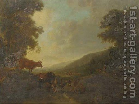 A landscape with shepherds and their cattle by a creek by (after) Balthazar Paul Ommeganck - Reproduction Oil Painting
