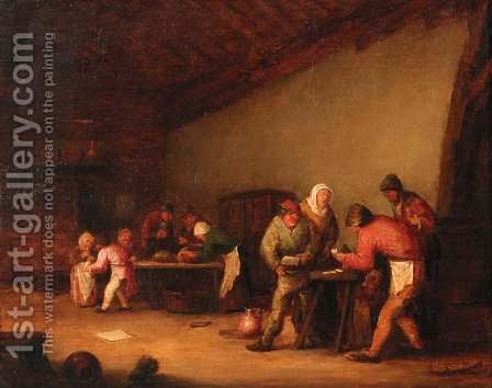 Boors playing at cards in a barn, children beyond by (after) Bartholomeus Molenaer - Reproduction Oil Painting