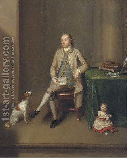 Portrait of Sir William Gleadowe Newcomen by (after) Benjamin Wilson - Reproduction Oil Painting