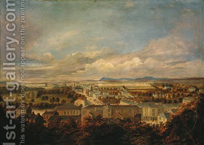 A panoramic view of Fermoy town by (after) Captain Thomas De Rienzi - Reproduction Oil Painting