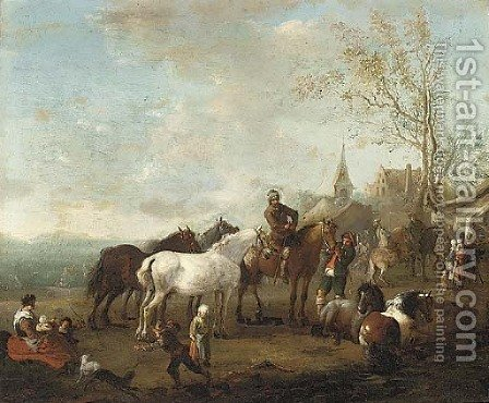 Figures and horses in a landscape by (after) Carel Van Falens Or Valens - Reproduction Oil Painting