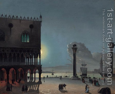 Piazza San Marco by moonlight, Venice by (after) Carlo Grubacs - Reproduction Oil Painting