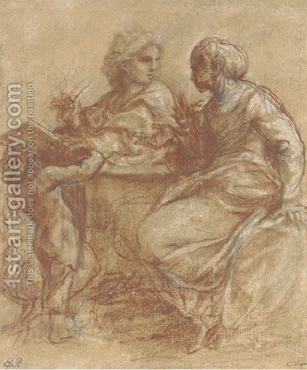 A seated man writing on a tablet, turning back to a woman by (after) Carlo Maratta Or Maratti - Reproduction Oil Painting