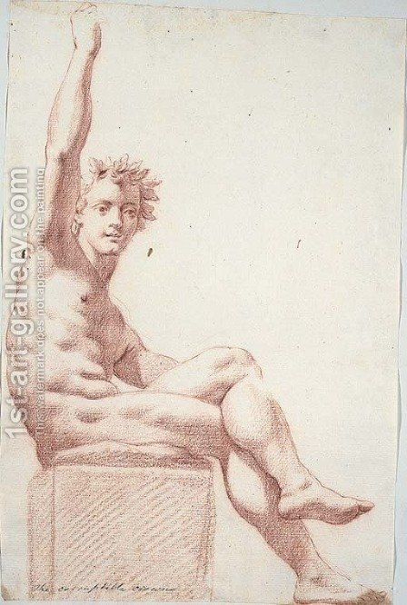 A seated nude wearing a crown of oak leaves, his right arm raised by (after) Cesare Dandini - Reproduction Oil Painting