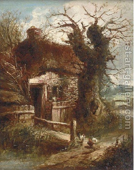 A cottage by a stream by (after) Charles Morris - Reproduction Oil Painting