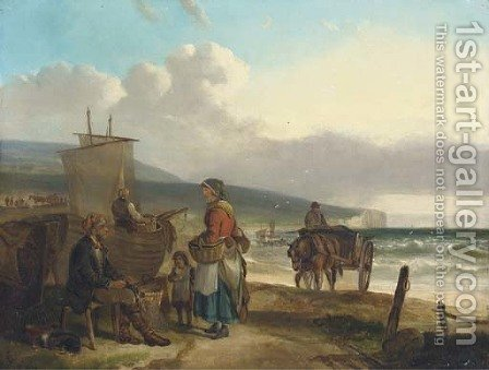 Fisherfolk on a beach by (after) Charles Waller Shayer - Reproduction Oil Painting