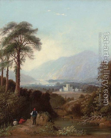 Fishermen by the River Tay, Perthshire, with Taymouth Castle beyond by (after) Charlotte Nasmyth - Reproduction Oil Painting