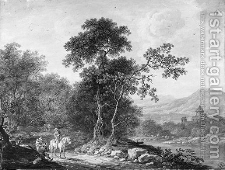 An extensive mountainous landscape with a traveller asking his way to a family of beggars, a river in the background by (after) Christoph Ludwig Agricola - Reproduction Oil Painting