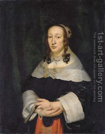Portrait of a lady by (after) Cornelius Janssens Van Ceulen - Reproduction Oil Painting