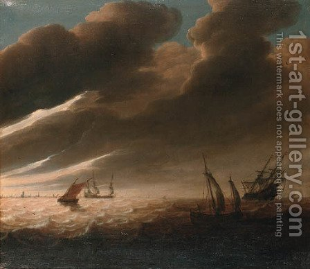 Shipping off a distant coastline - a fragment by (after) Cornelis Mahu - Reproduction Oil Painting