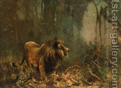 Lion by (after) Cuthbert Edmund Swan - Reproduction Oil Painting