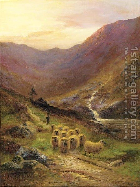 A shepherd and his flock in a Highland landscape by (after) Daniel Sherrin - Reproduction Oil Painting