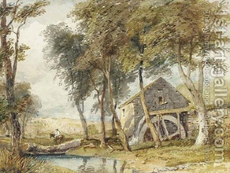 Riding past the watermill by (after) Cox, David - Reproduction Oil Painting