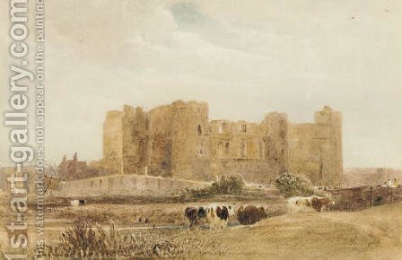 Cattle before a castle by (after) David Cox - Reproduction Oil Painting