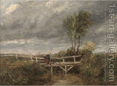 A woman crossing a wooden bridge in a stormy landscape by (after) David Cox - Reproduction Oil Painting