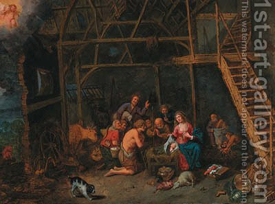 The Adoration of the Shepherds by (after) David Ryckaert - Reproduction Oil Painting