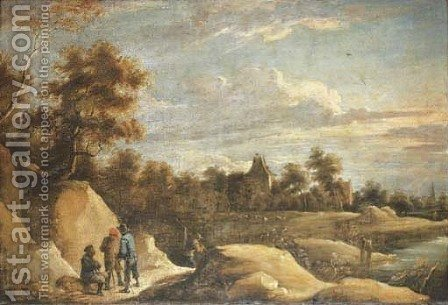 A landscape with peasants conversing on a path by a river, a chateau beyond by (after) David The Younger Teniers - Reproduction Oil Painting