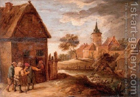 Figures outside a cottage, a town beyond by (after) David The Younger Teniers - Reproduction Oil Painting