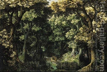 A wooded landscape with a stag hunt by (after) David Vinckboons - Reproduction Oil Painting