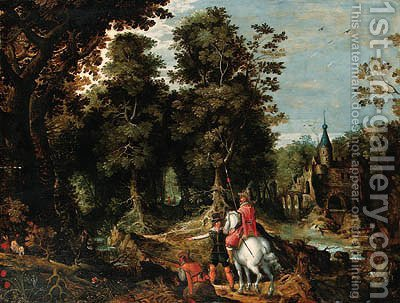 A wooded River Landscape with Sportsmen near a Castle by (after) David Vinckboons - Reproduction Oil Painting