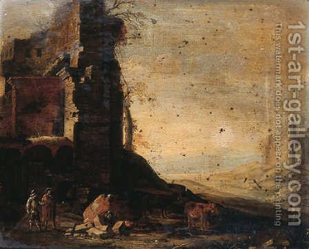 Travellers by classical ruins in an Italianate landscape by (after) Dirck Verhaert - Reproduction Oil Painting