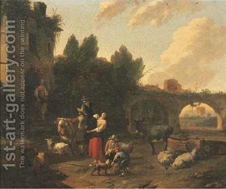 In Italianate landscape with herdsmen and cattle halting by a ruined mansion by (after) Dirk Van Bergen - Reproduction Oil Painting