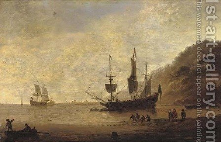 A man-o'-war at anchor before a hilly coast with figures in the foreground and shipping beyond by (after) Dirck Verhaert - Reproduction Oil Painting