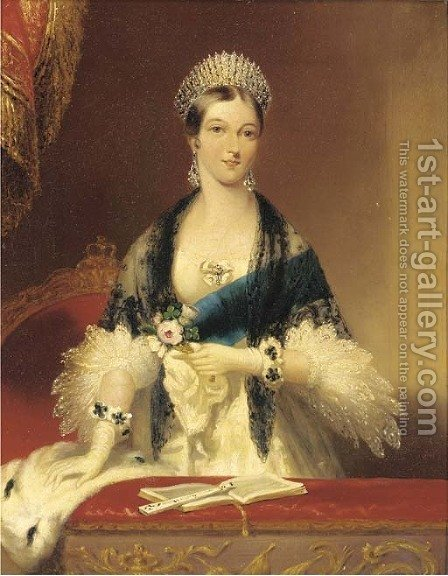 Portrait of Queen Victoria (1819-1901) by (after) Edmund Thomas Parris - Reproduction Oil Painting