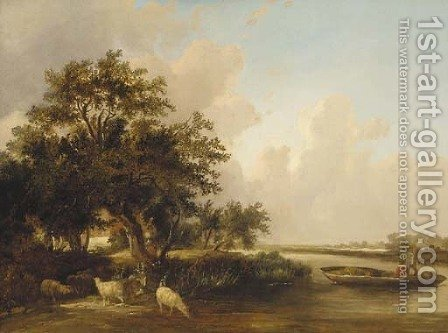 Figures in a punt with sheep watering in a wooded landscape by (after) Edward Charles Williams - Reproduction Oil Painting