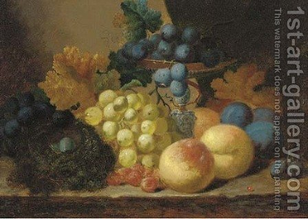 Grapes, peaches and a bird's nest on a ledge by (after) Edward Ladell - Reproduction Oil Painting