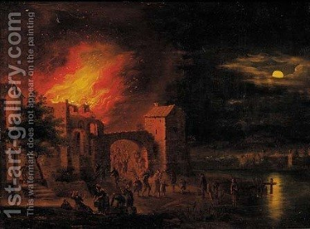 A town on fire at night by (after) Egbert Lievensz. Van Der Poel - Reproduction Oil Painting