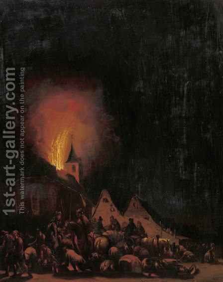 A village on fire at night by (after) Egbert Lievensz. Van Der Poel - Reproduction Oil Painting