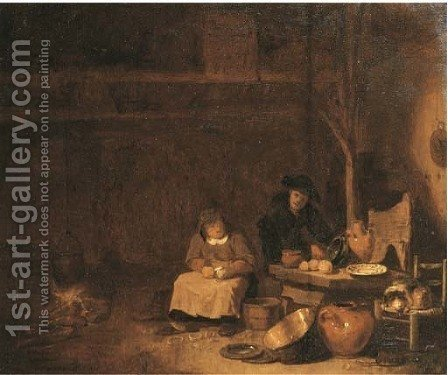 Peasants preparing a meal in a barn by (after) Egbert Lievensz. Van Der Poel - Reproduction Oil Painting