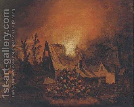 A village on fire at  night by (after) Egbert Van Der Poel - Reproduction Oil Painting