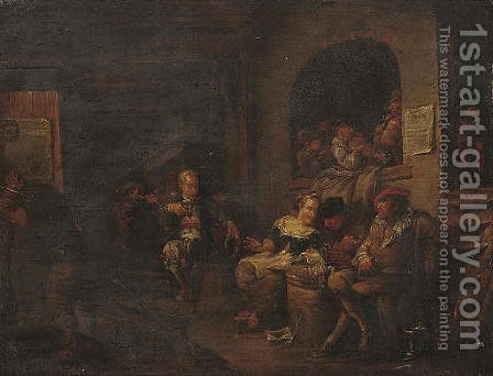 Peasants smoking and music making in an interior by (after) Egbert Jaspersz. Van, The Elder Heemskerck - Reproduction Oil Painting