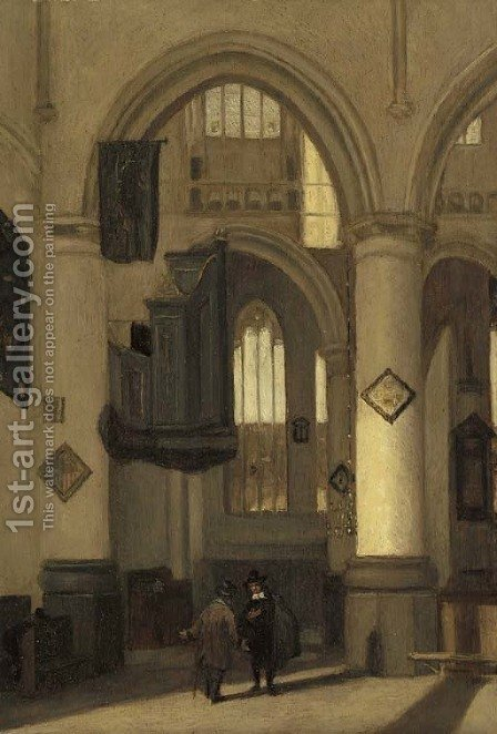 The interior of a church with townsfolk in the foreground by (after) Emanuel De Witte - Reproduction Oil Painting