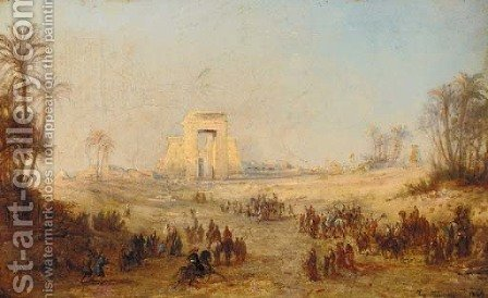 Travelling towards Giza, Egypt by (after) Eugene Fromentin - Reproduction Oil Painting
