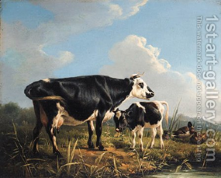 Cows and Ducks beside a Pond by (after) Eugene Joseph Verboeckhoven - Reproduction Oil Painting