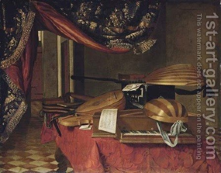 A spinet by (after) Evaristo Baschenis - Reproduction Oil Painting