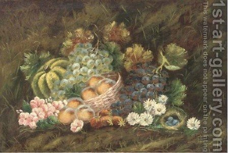Peaches in a basket by (after) Evelyn Chester - Reproduction Oil Painting