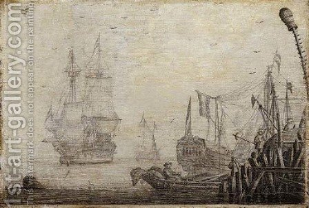 A penschilderij Shipping in a harbour with figures on a quay in the foreground by (after) Experiens Sillemans - Reproduction Oil Painting