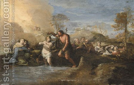The Baptism of Christ by (after) Filippo Lauri - Reproduction Oil Painting