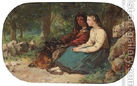 Faggot gatherers chatting in the woods by (after) Frances Anne Hopkins - Reproduction Oil Painting
