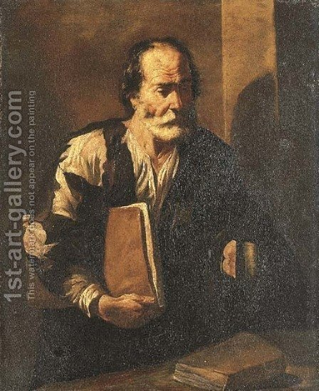 Diogenes holding a lamp by (after) Francesco Fracanzano - Reproduction Oil Painting